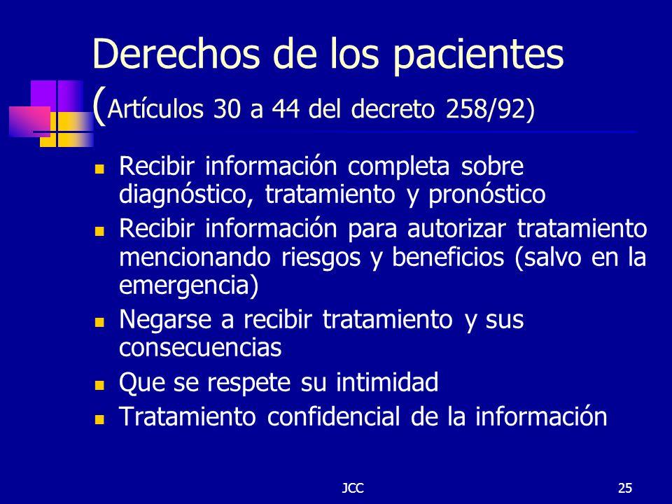 JCC25 Derechos de los pacientes ( Artículos 30 a 44 del decreto 258/92) Recibir información completa sobre diagnóstico, tratamiento y pronóstico Recib