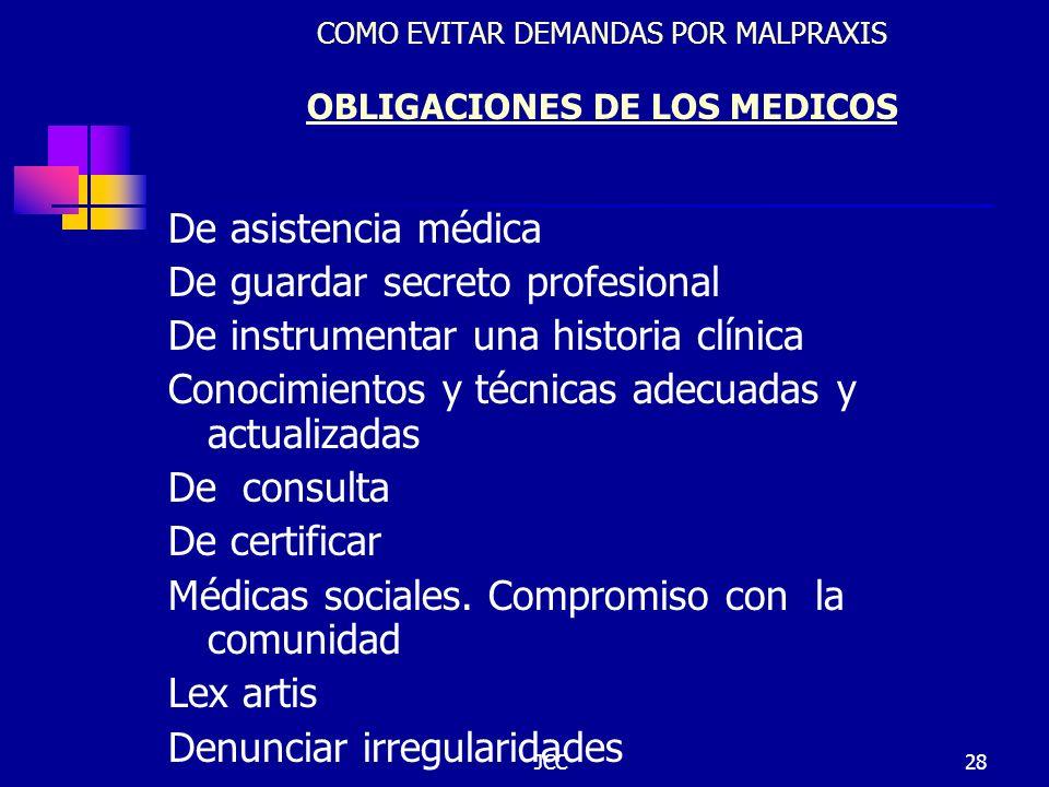 JCC28 COMO EVITAR DEMANDAS POR MALPRAXIS OBLIGACIONES DE LOS MEDICOS De asistencia médica De guardar secreto profesional De instrumentar una historia