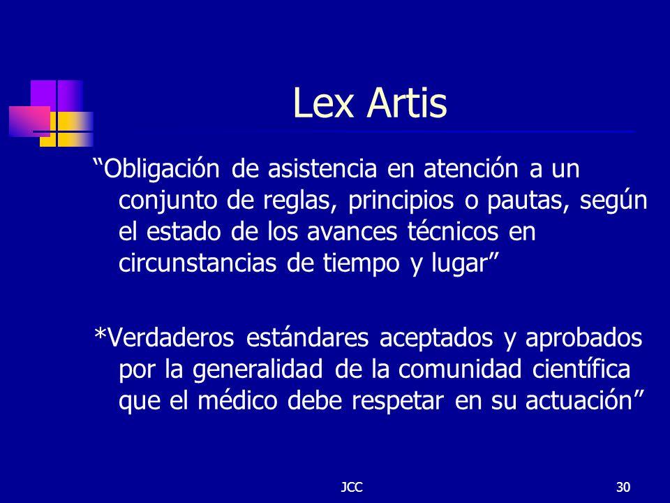 JCC30 Lex Artis Obligación de asistencia en atención a un conjunto de reglas, principios o pautas, según el estado de los avances técnicos en circunst