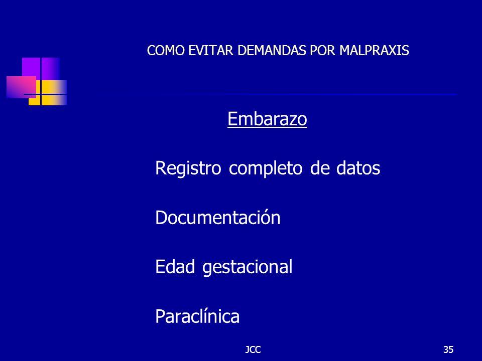 JCC35 COMO EVITAR DEMANDAS POR MALPRAXIS Embarazo Registro completo de datos Documentación Edad gestacional Paraclínica