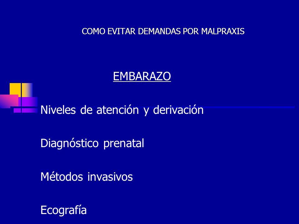 JCC36 COMO EVITAR DEMANDAS POR MALPRAXIS EMBARAZO Niveles de atención y derivación Diagnóstico prenatal Métodos invasivos Ecografía