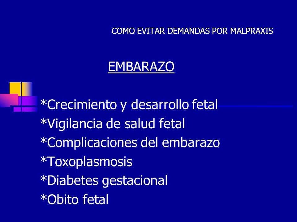 JCC37 COMO EVITAR DEMANDAS POR MALPRAXIS EMBARAZO *Crecimiento y desarrollo fetal *Vigilancia de salud fetal *Complicaciones del embarazo *Toxoplasmos