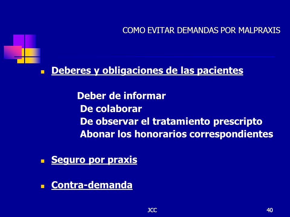 JCC40 COMO EVITAR DEMANDAS POR MALPRAXIS Deberes y obligaciones de las pacientes Deber de informar De colaborar De observar el tratamiento prescripto