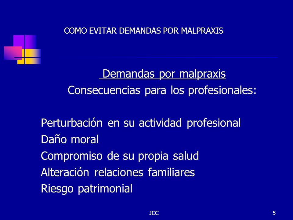 JCC5 COMO EVITAR DEMANDAS POR MALPRAXIS Demandas por malpraxis Consecuencias para los profesionales: Perturbación en su actividad profesional Daño mor