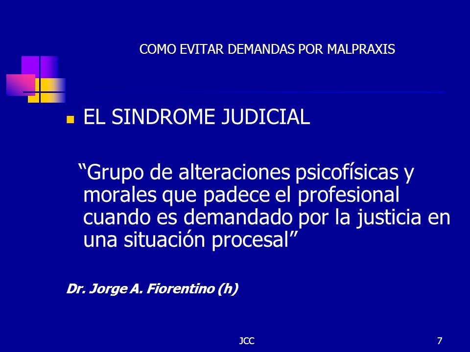 JCC7 COMO EVITAR DEMANDAS POR MALPRAXIS EL SINDROME JUDICIAL Grupo de alteraciones psicofísicas y morales que padece el profesional cuando es demandad