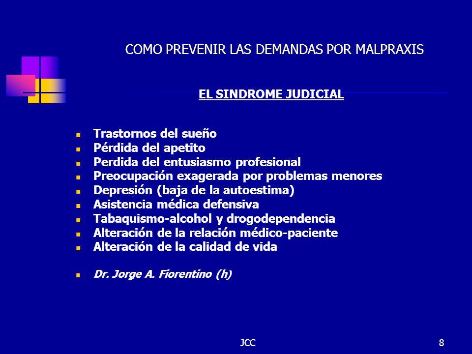 JCC8 COMO PREVENIR LAS DEMANDAS POR MALPRAXIS EL SINDROME JUDICIAL Trastornos del sueño Pérdida del apetito Perdida del entusiasmo profesional Preocup