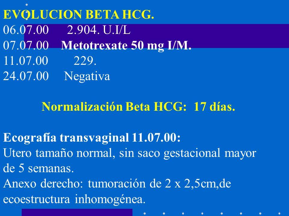EVOLUCION BETA HCG. 06.07.00 2.904. U.I/L 07.07.00Metotrexate 50 mg I/M. 11.07.00 229. 24.07.00 Negativa Normalización Beta HCG: 17 días. Ecografía tr