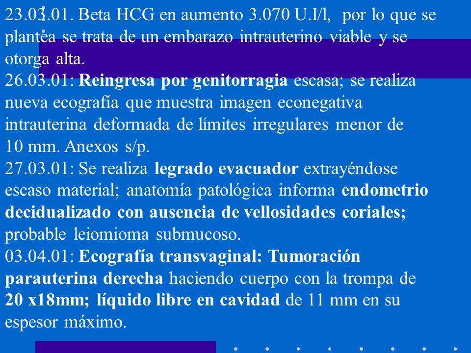 23.03.01. Beta HCG en aumento 3.070 U.I/l, por lo que se plantea se trata de un embarazo intrauterino viable y se otorga alta. 26.03.01: Reingresa por