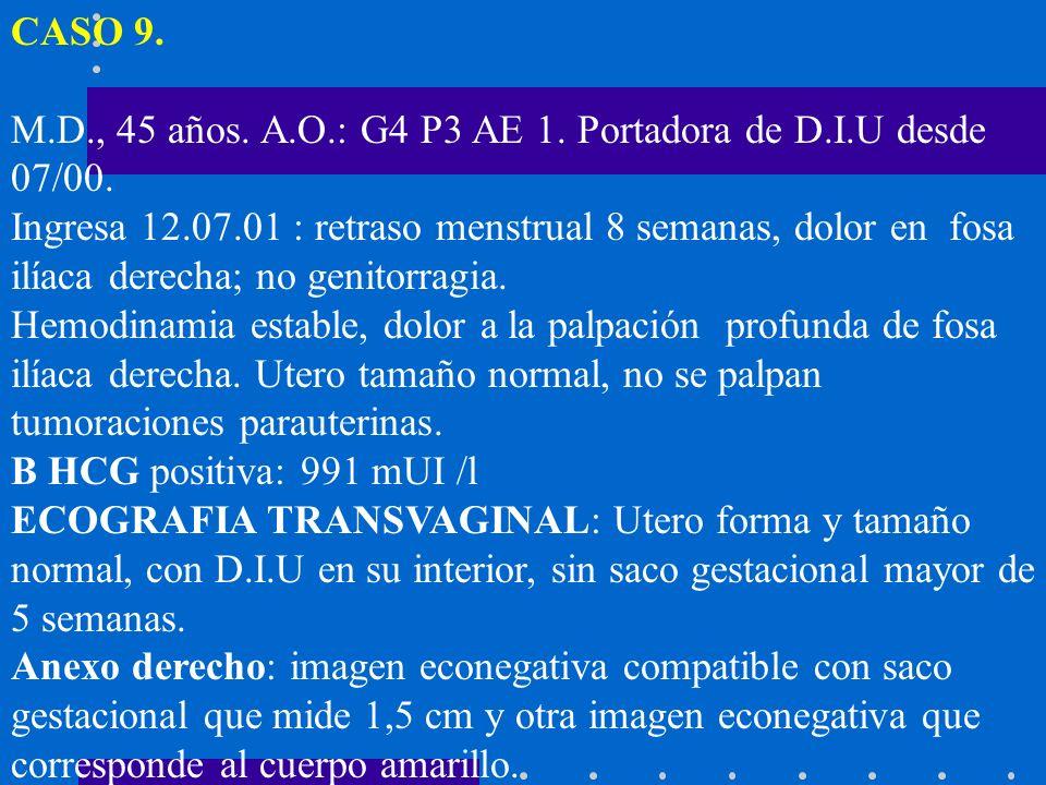 CASO 9. M.D., 45 años. A.O.: G4 P3 AE 1. Portadora de D.I.U desde 07/00. Ingresa 12.07.01 : retraso menstrual 8 semanas, dolor en fosa ilíaca derecha;