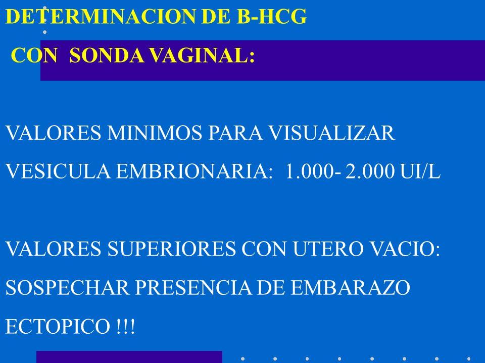 DETERMINACION DE B-HCG CON SONDA VAGINAL: VALORES MINIMOS PARA VISUALIZAR VESICULA EMBRIONARIA: 1.000- 2.000 UI/L VALORES SUPERIORES CON UTERO VACIO: