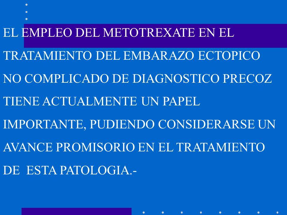 EL EMPLEO DEL METOTREXATE EN EL TRATAMIENTO DEL EMBARAZO ECTOPICO NO COMPLICADO DE DIAGNOSTICO PRECOZ TIENE ACTUALMENTE UN PAPEL IMPORTANTE, PUDIENDO