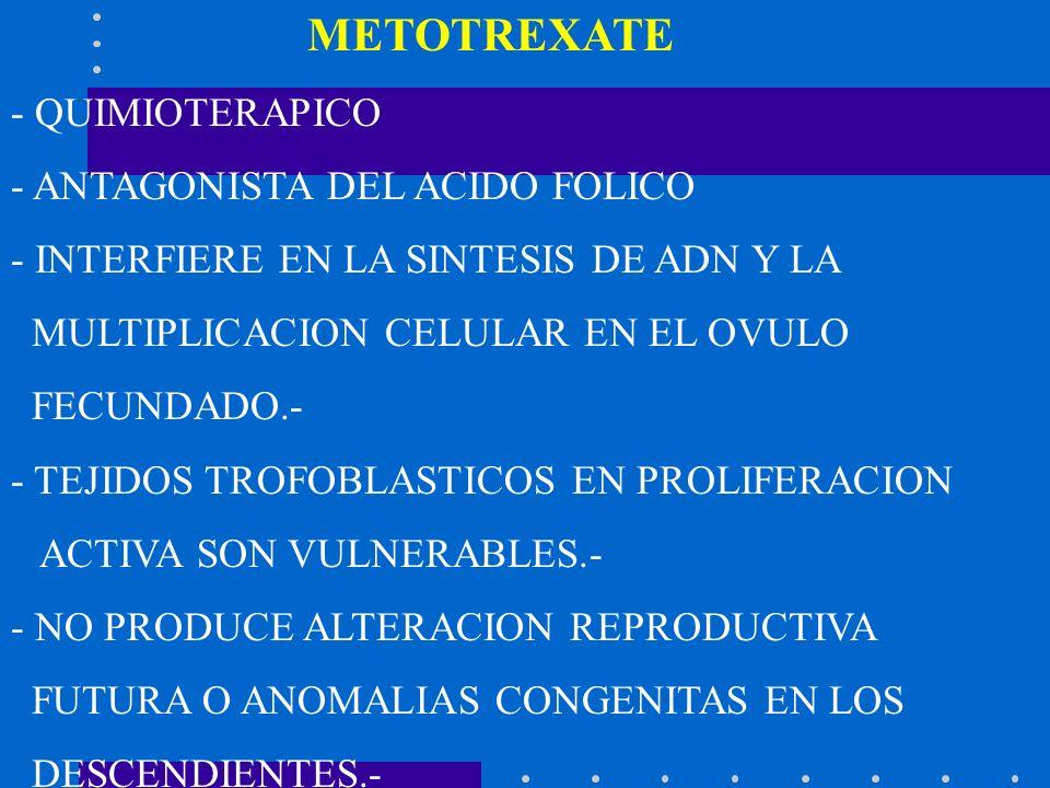 METOTREXATE - QUIMIOTERAPICO - ANTAGONISTA DEL ACIDO FOLICO - INTERFIERE EN LA SINTESIS DE ADN Y LA MULTIPLICACION CELULAR EN EL OVULO FECUNDADO.- - T