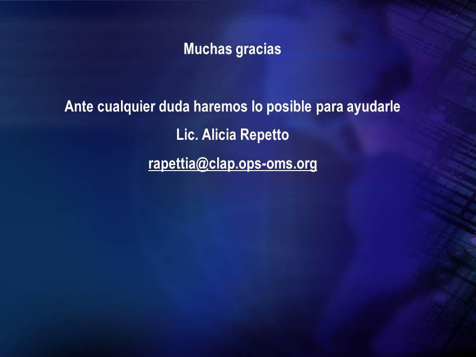 Muchas gracias Ante cualquier duda haremos lo posible para ayudarle Lic. Alicia Repetto rapettia@clap.ops-oms.org