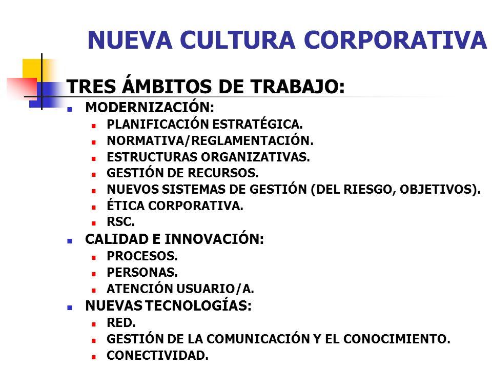 TRES ÁMBITOS DE TRABAJO: MODERNIZACIÓN: PLANIFICACIÓN ESTRATÉGICA. NORMATIVA/REGLAMENTACIÓN. ESTRUCTURAS ORGANIZATIVAS. GESTIÓN DE RECURSOS. NUEVOS SI