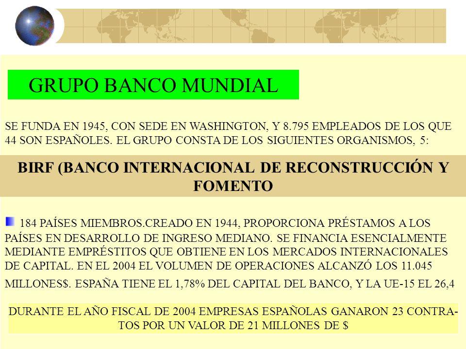 39 INSTITUCIONES DE RANGO INTERNACIONAL FMI SUPERVISA LA SITUACIÓN ECONÓMICA DE CADA UNO DE SUS MIEMBROS (184) Y ASISTE FINANCIERAMENTE A LOS MIEMBROS