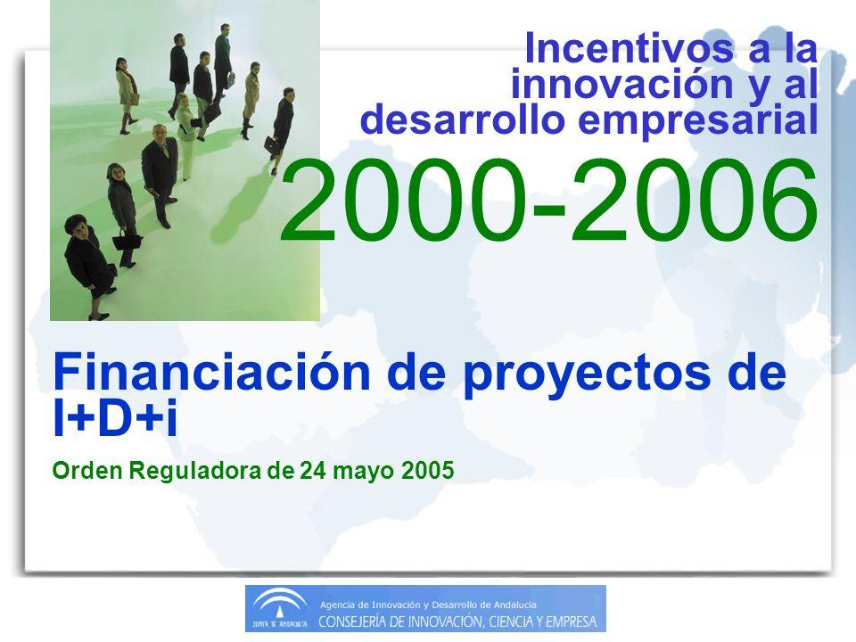 2000-2006 Financiación de proyectos de I+D+i Orden Reguladora de 24 mayo 2005 Incentivos a la innovación y al desarrollo empresarial