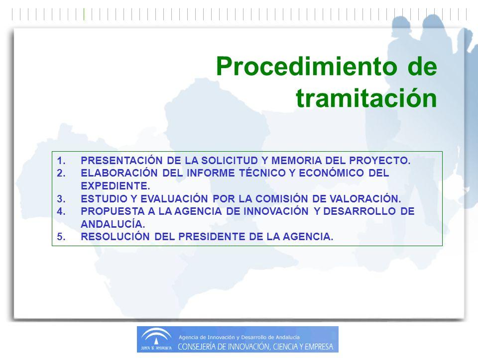 Procedimiento de tramitación 1.PRESENTACIÓN DE LA SOLICITUD Y MEMORIA DEL PROYECTO.