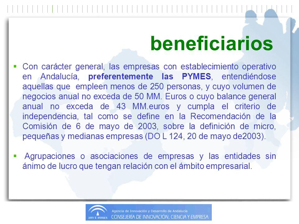 Con carácter general, las empresas con establecimiento operativo en Andalucía, preferentemente las PYMES, entendiéndose aquellas que empleen menos de 250 personas, y cuyo volumen de negocios anual no exceda de 50 MM.
