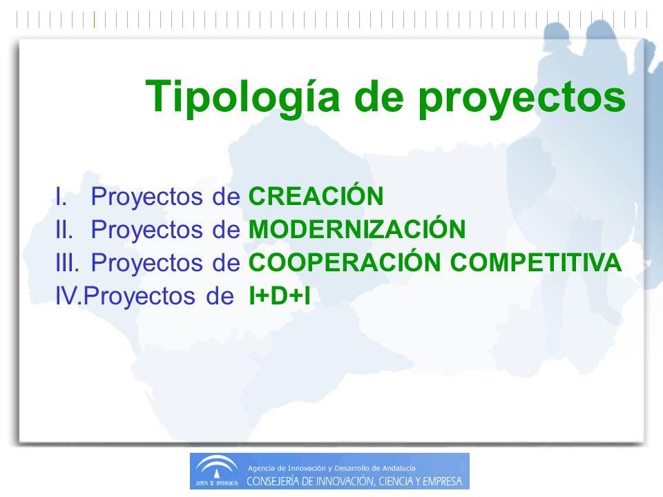 I. Proyectos de CREACIÓN II. Proyectos de MODERNIZACIÓN III.