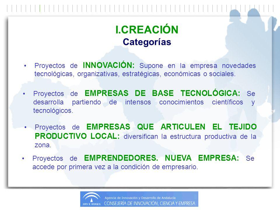 Proyectos de INNOVACIÓN: Supone en la empresa novedades tecnológicas, organizativas, estratégicas, económicas o sociales.