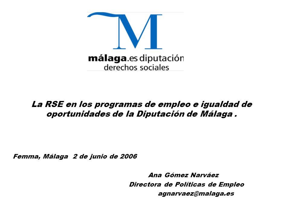 La RSE en los programas de empleo e igualdad de oportunidades de la Diputación de Málaga.