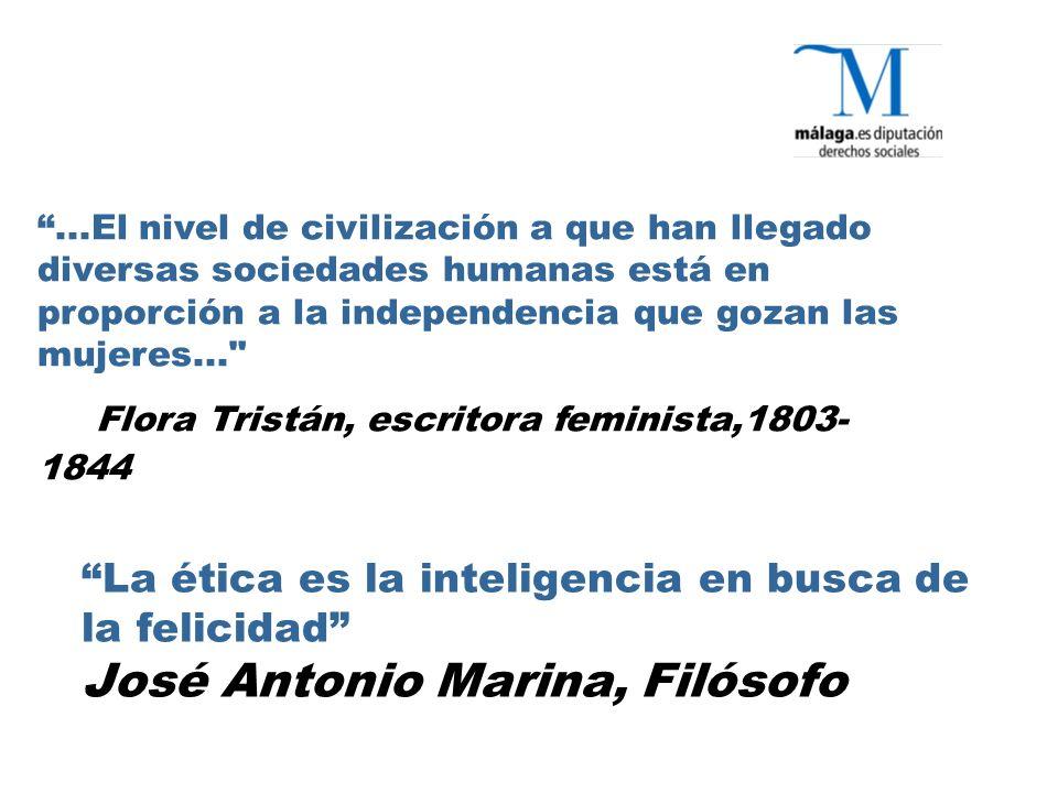 La ética es la inteligencia en busca de la felicidad José Antonio Marina, Filósofo...El nivel de civilización a que han llegado diversas sociedades humanas está en proporción a la independencia que gozan las mujeres... Flora Tristán, escritora feminista,1803- 1844