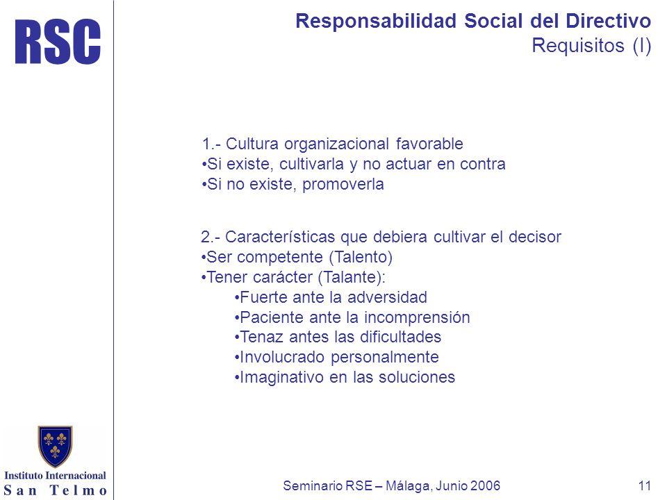 RSC Seminario RSE – Málaga, Junio 200611 Responsabilidad Social del Directivo Requisitos (I) 1.- Cultura organizacional favorable Si existe, cultivarl