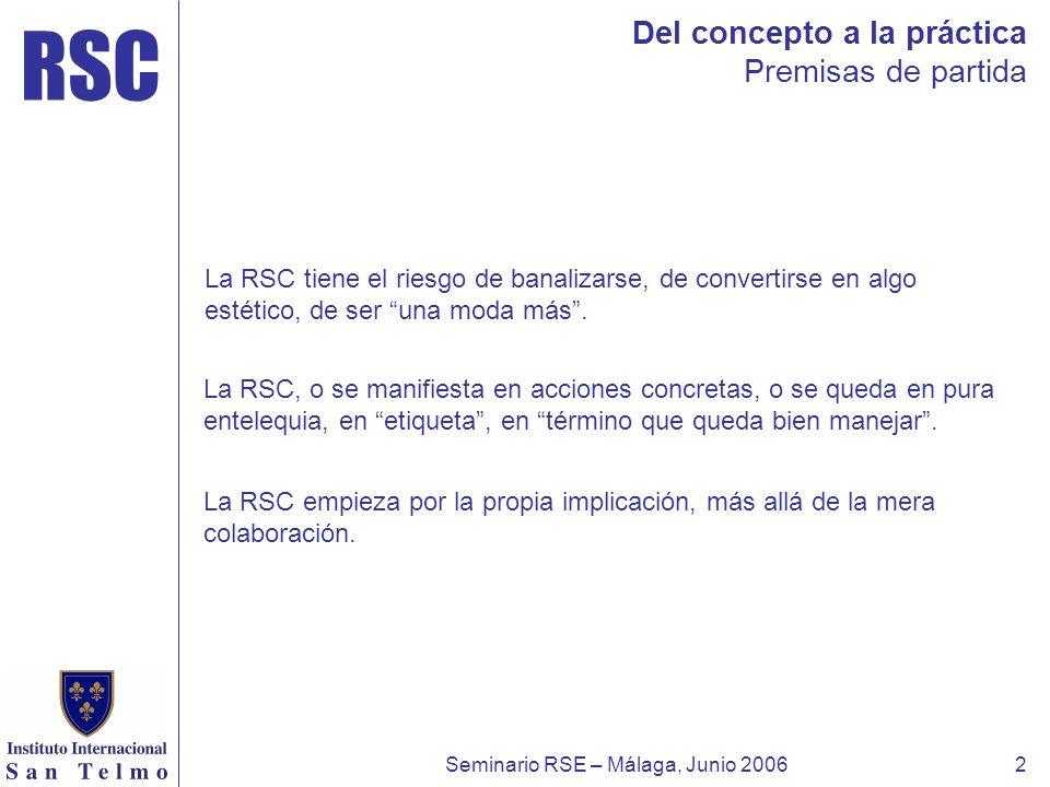 RSC Seminario RSE – Málaga, Junio 20062 Del concepto a la práctica Premisas de partida La RSC tiene el riesgo de banalizarse, de convertirse en algo e