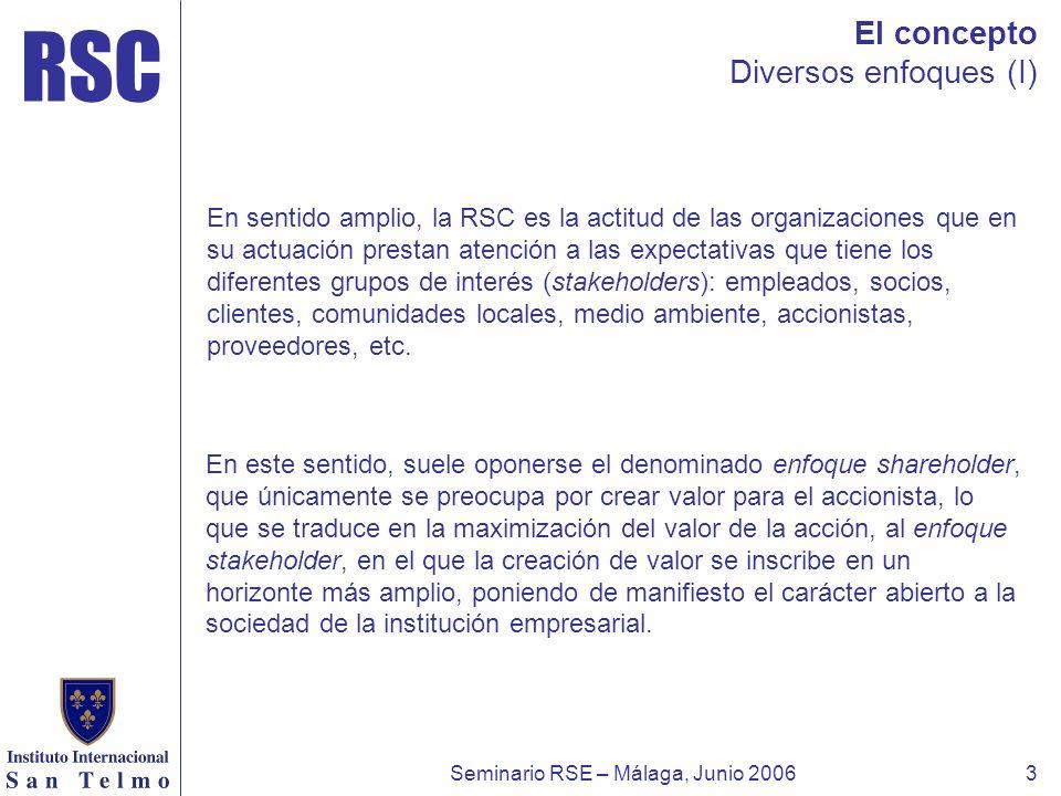 RSC Seminario RSE – Málaga, Junio 20063 El concepto Diversos enfoques (I) En sentido amplio, la RSC es la actitud de las organizaciones que en su actu