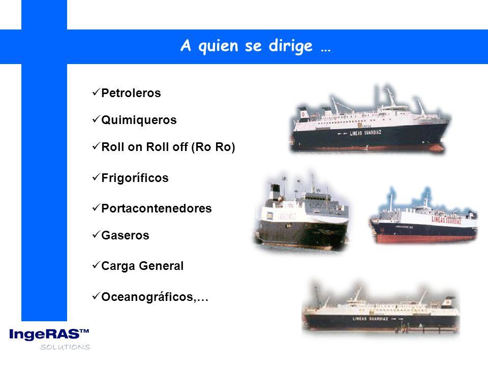 Petroleros A quien se dirige … Quimiqueros Gaseros Frigoríficos Portacontenedores Carga General Roll on Roll off (Ro Ro) Oceanográficos,…