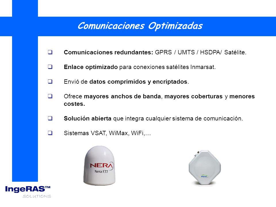 Comunicaciones redundantes: GPRS / UMTS / HSDPA/ Satélite. Enlace optimizado para conexiones satélites Inmarsat. Envió de datos comprimidos y encripta