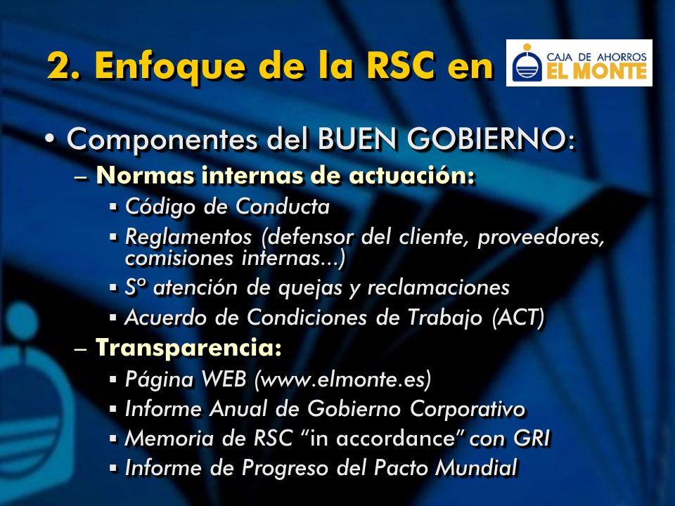 2. Enfoque de la RSC en Componentes del BUEN GOBIERNO:Componentes del BUEN GOBIERNO: –Normas internas de actuación: Código de Conducta Código de Condu