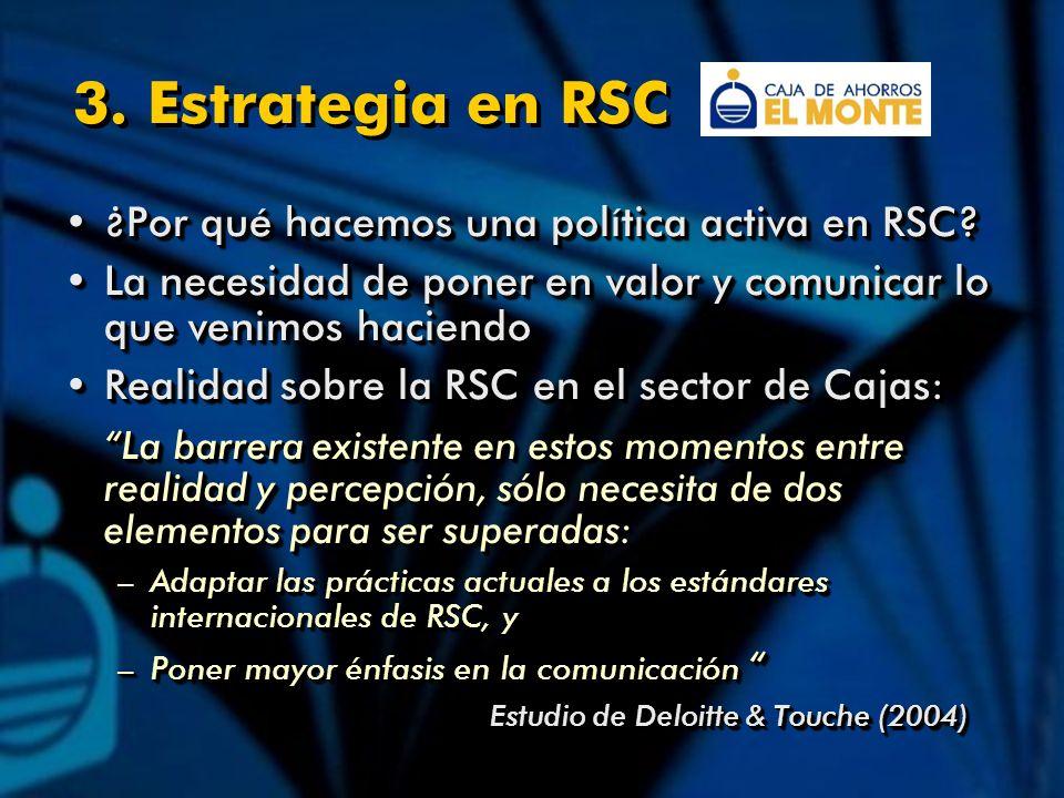 3. Estrategia en RSC ¿Por qué hacemos una política activa en RSC?¿Por qué hacemos una política activa en RSC? La necesidad de poner en valor y comunic
