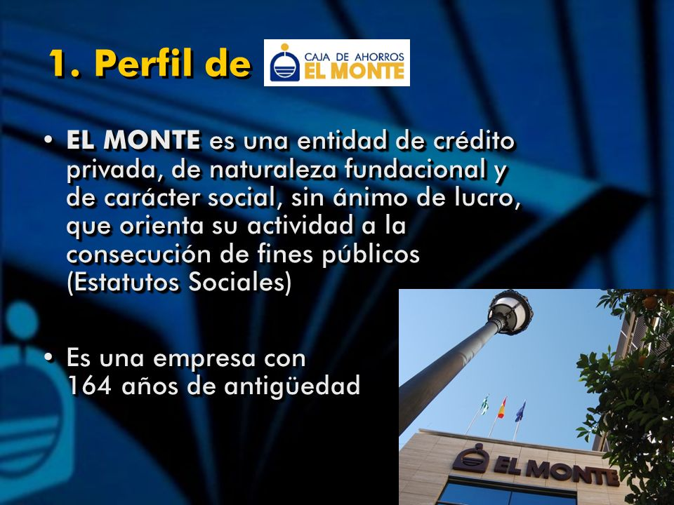 1. Perfil de EL MONTE es una entidad de crédito privada, de naturaleza fundacional y de carácter social, sin ánimo de lucro, que orienta su actividad