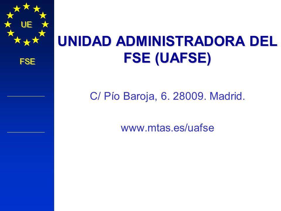 Política Regional COMISIÓN EUROPEA UE FSE UNIDAD ADMINISTRADORA DEL FSE (UAFSE) C/ Pío Baroja, 6. 28009. Madrid. www.mtas.es/uafse