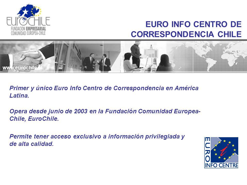 www.eurochile.cl EURO INFO CENTRO DE CORRESPONDENCIA CHILE www.eurochile.cl Primer y único Euro Info Centro de Correspondencia en América Latina.