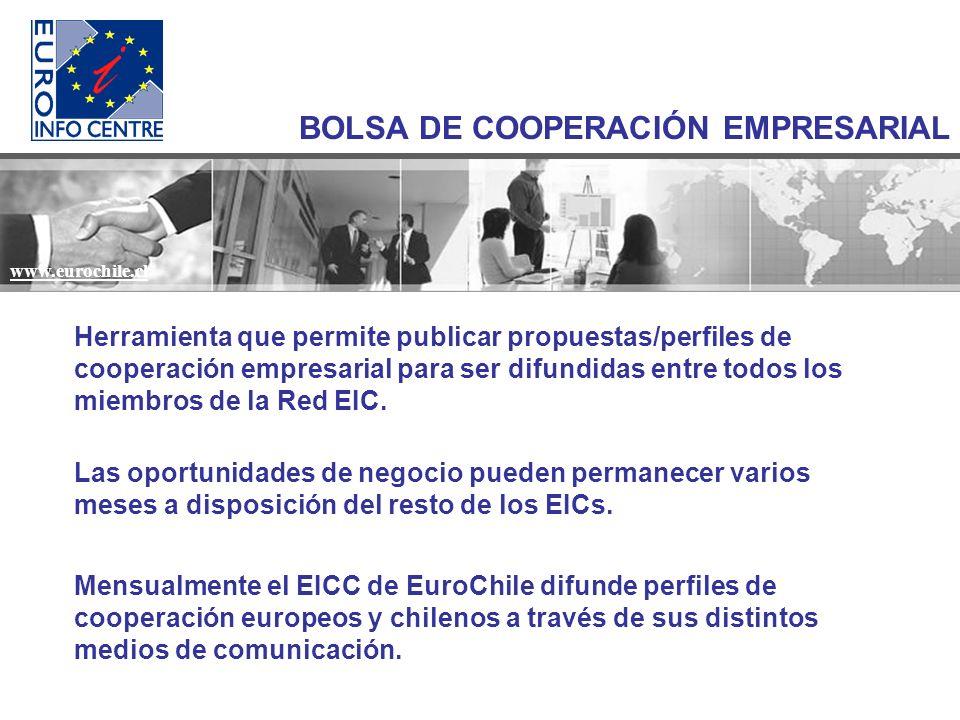 www.eurochile.cl BOLSA DE COOPERACIÓN EMPRESARIAL Herramienta que permite publicar propuestas/perfiles de cooperación empresarial para ser difundidas entre todos los miembros de la Red EIC.