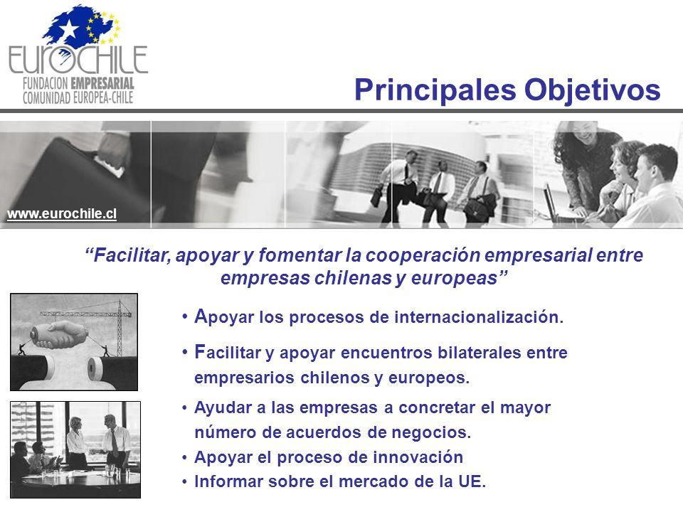 Principales Objetivos www.eurochile.cl Facilitar, apoyar y fomentar la cooperación empresarial entre empresas chilenas y europeas A poyar los procesos