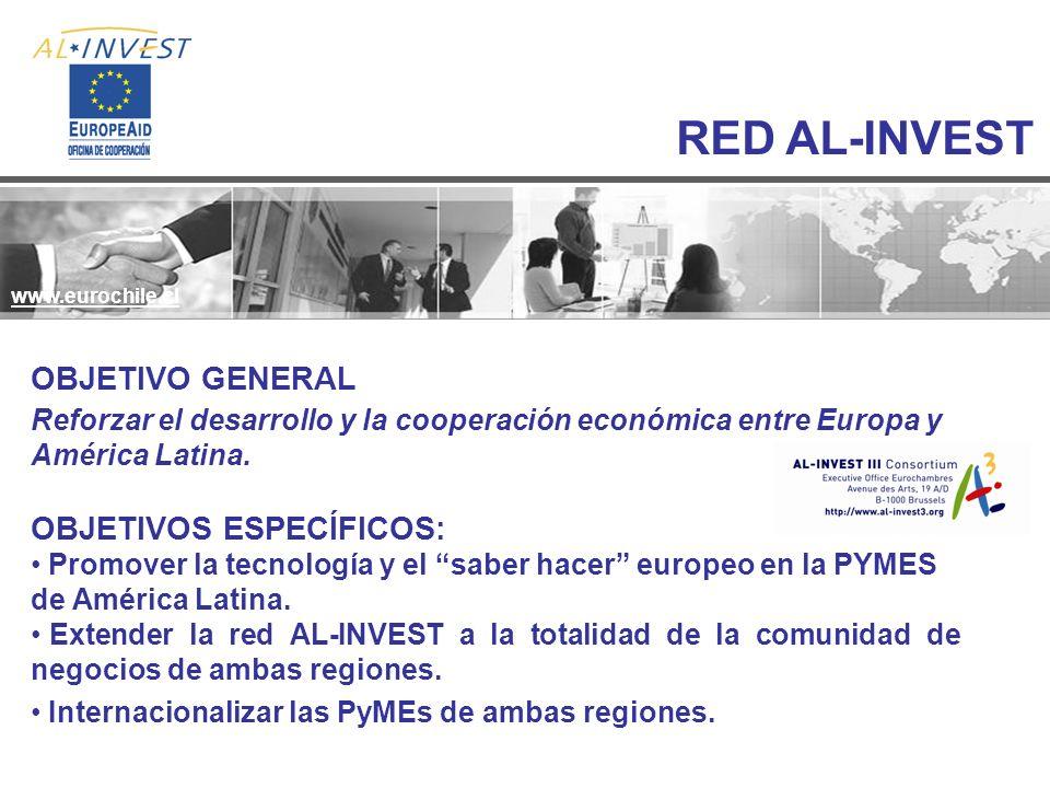 RED AL-INVEST www.eurochile.cl Reforzar el desarrollo y la cooperación económica entre Europa y América Latina. OBJETIVO GENERAL OBJETIVOS ESPECÍFICOS
