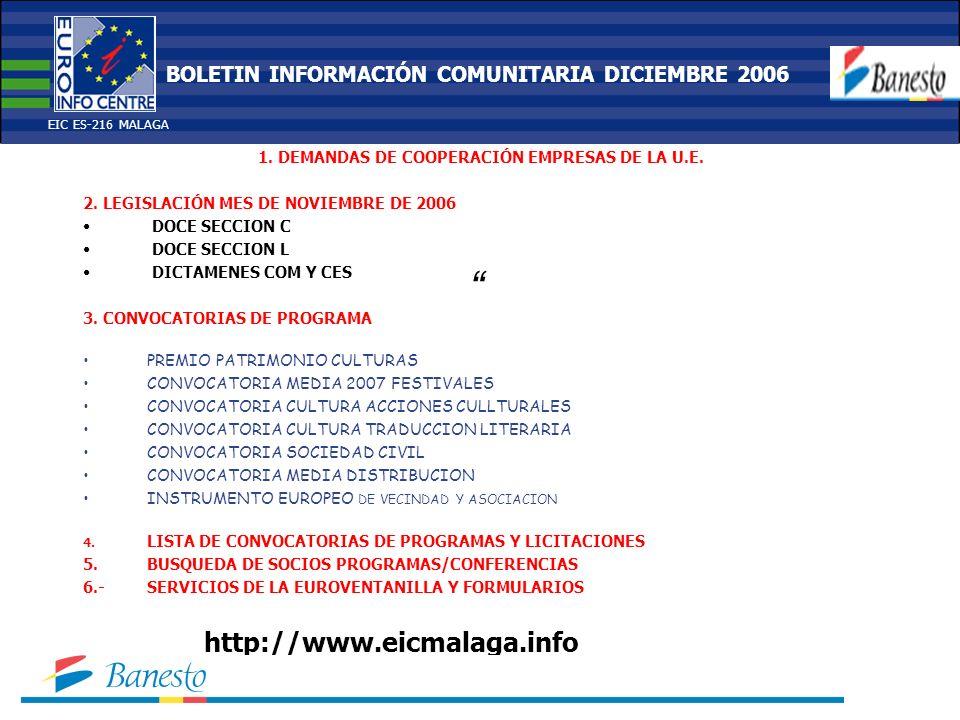 1. DEMANDAS DE COOPERACIÓN EMPRESAS DE LA U.E. 2.