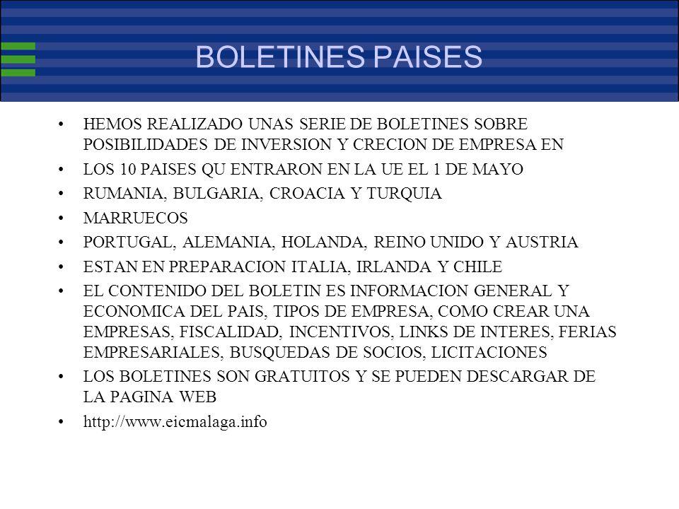 BOLETINES PAISES HEMOS REALIZADO UNAS SERIE DE BOLETINES SOBRE POSIBILIDADES DE INVERSION Y CRECION DE EMPRESA EN LOS 10 PAISES QU ENTRARON EN LA UE EL 1 DE MAYO RUMANIA, BULGARIA, CROACIA Y TURQUIA MARRUECOS PORTUGAL, ALEMANIA, HOLANDA, REINO UNIDO Y AUSTRIA ESTAN EN PREPARACION ITALIA, IRLANDA Y CHILE EL CONTENIDO DEL BOLETIN ES INFORMACION GENERAL Y ECONOMICA DEL PAIS, TIPOS DE EMPRESA, COMO CREAR UNA EMPRESAS, FISCALIDAD, INCENTIVOS, LINKS DE INTERES, FERIAS EMPRESARIALES, BUSQUEDAS DE SOCIOS, LICITACIONES LOS BOLETINES SON GRATUITOS Y SE PUEDEN DESCARGAR DE LA PAGINA WEB http://www.eicmalaga.info