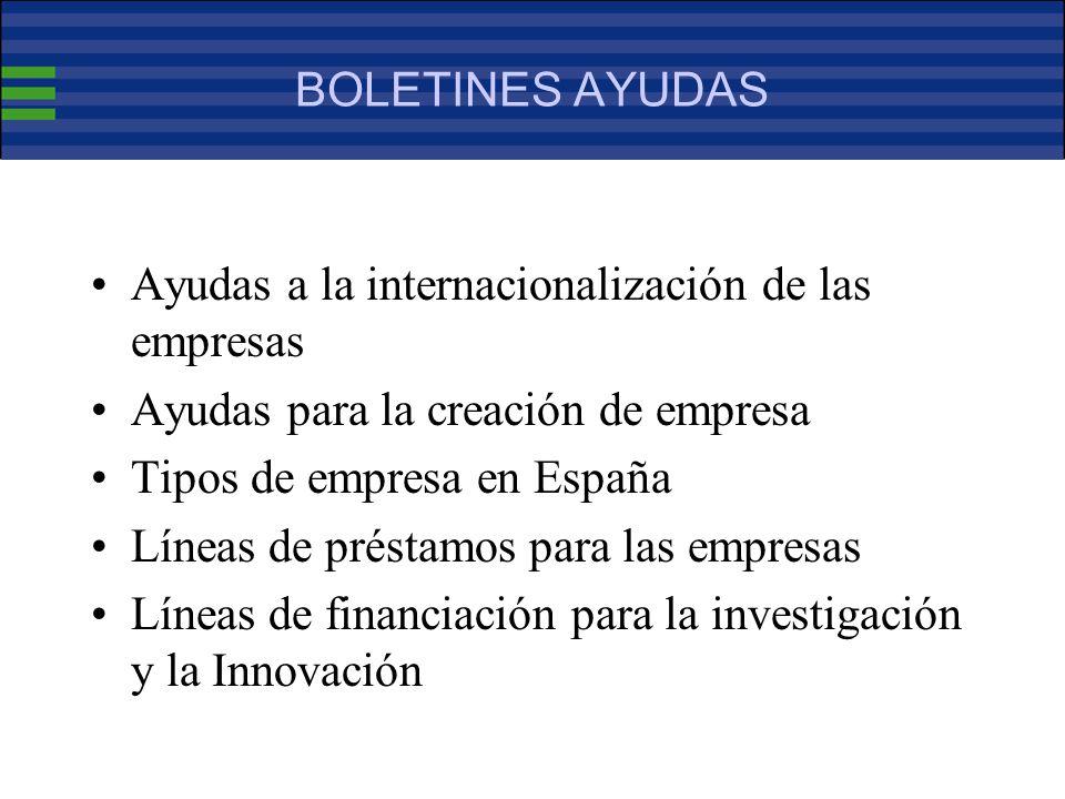 BOLETINES AYUDAS Ayudas a la internacionalización de las empresas Ayudas para la creación de empresa Tipos de empresa en España Líneas de préstamos para las empresas Líneas de financiación para la investigación y la Innovación