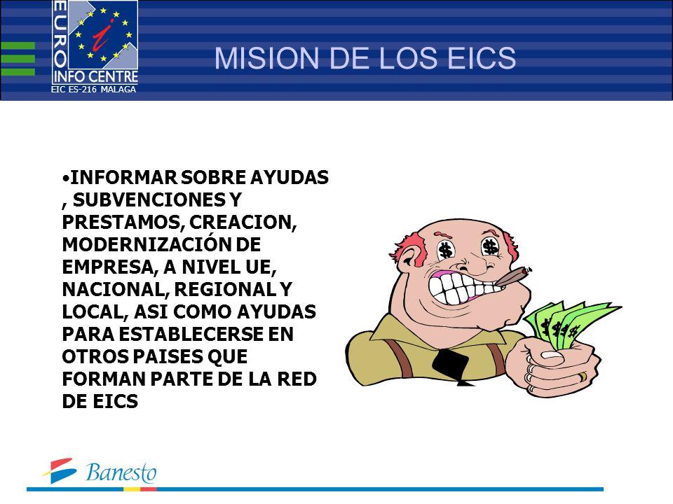 MISION DE LOS EICS INFORMAR SOBRE AYUDAS, SUBVENCIONES Y PRESTAMOS, CREACION, MODERNIZACIÓN DE EMPRESA, A NIVEL UE, NACIONAL, REGIONAL Y LOCAL, ASI COMO AYUDAS PARA ESTABLECERSE EN OTROS PAISES QUE FORMAN PARTE DE LA RED DE EICS EIC ES-216 MALAGA