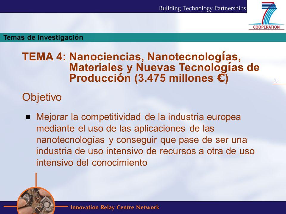 11 Mejorar la competitividad de la industria europea mediante el uso de las aplicaciones de las nanotecnologías y conseguir que pase de ser una indust