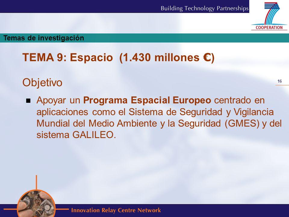 16 Apoyar un Programa Espacial Europeo centrado en aplicaciones como el Sistema de Seguridad y Vigilancia Mundial del Medio Ambiente y la Seguridad (G