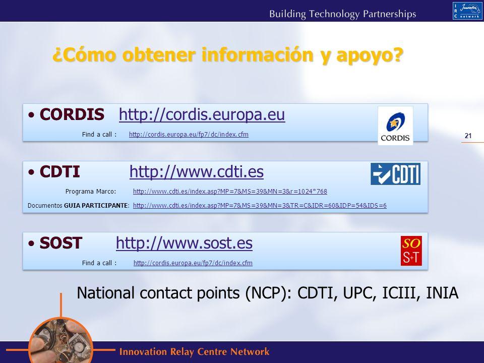 21 ¿Cómo obtener información y apoyo? National contact points (NCP): CDTI, UPC, ICIII, INIA