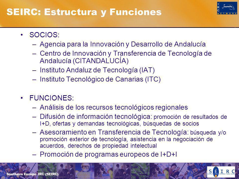 Southern Europe IRC (SEIRC) SEIRC: Estructura y Funciones SOCIOS: –Agencia para la Innovación y Desarrollo de Andalucía –Centro de Innovación y Transferencia de Tecnología de Andalucía (CITANDALUCÍA) –Instituto Andaluz de Tecnología (IAT) –Instituto Tecnológico de Canarias (ITC) FUNCIONES: –Análisis de los recursos tecnológicos regionales –Difusión de información tecnológica: promoción de resultados de I+D, ofertas y demandas tecnológicas, búsquedas de socios –Asesoramiento en Transferencia de Tecnología: búsqueda y/o promoción exterior de tecnología, asistencia en la negociación de acuerdos, derechos de propiedad intelectual –Promoción de programas europeos de I+D+I