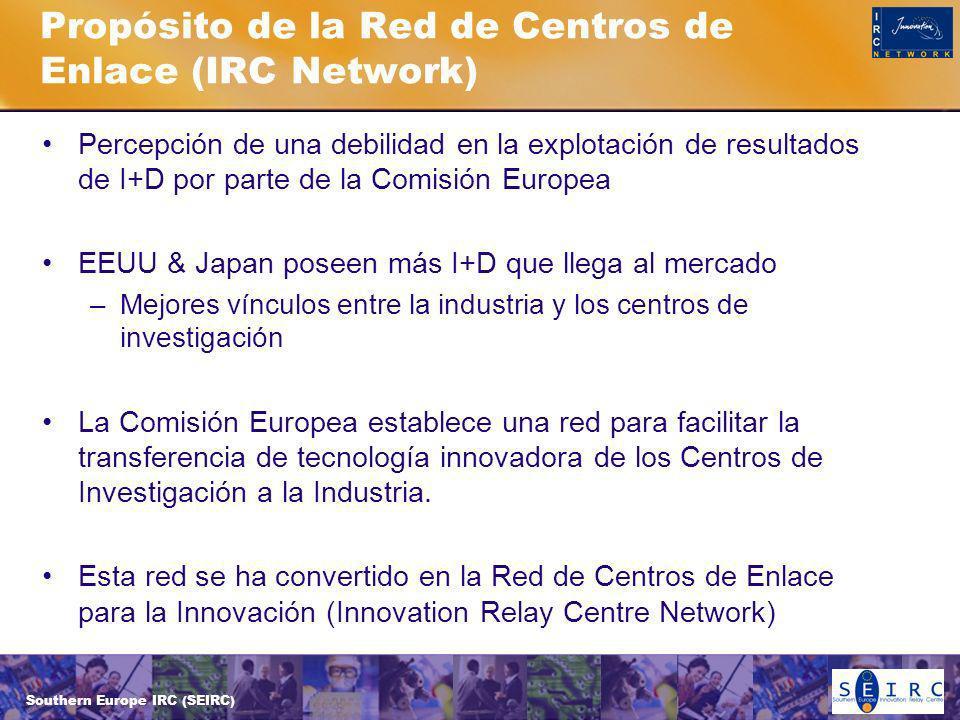 Southern Europe IRC (SEIRC) Propósito de la Red de Centros de Enlace (IRC Network) Percepción de una debilidad en la explotación de resultados de I+D por parte de la Comisión Europea EEUU & Japan poseen más I+D que llega al mercado –Mejores vínculos entre la industria y los centros de investigación La Comisión Europea establece una red para facilitar la transferencia de tecnología innovadora de los Centros de Investigación a la Industria.