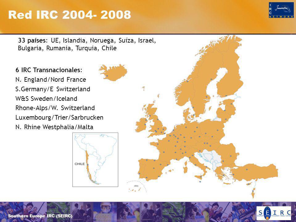Southern Europe IRC (SEIRC) Red IRC 2004- 2008 33 países: UE, Islandia, Noruega, Suíza, Israel, Bulgaria, Rumania, Turquia, Chile 6 IRC Transnacionales: N.