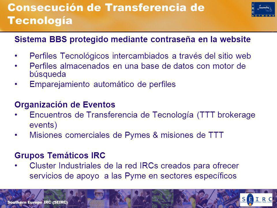 Southern Europe IRC (SEIRC) Consecución de Transferencia de Tecnología Sistema BBS protegido mediante contraseña en la website Perfiles Tecnológicos intercambiados a través del sitio web Perfiles almacenados en una base de datos con motor de búsqueda Emparejamiento automático de perfiles Organización de Eventos Encuentros de Transferencia de Tecnología (TTT brokerage events) Misiones comerciales de Pymes & misiones de TTT Grupos Temáticos IRC Cluster Industriales de la red IRCs creados para ofrecer servicios de apoyo a las Pyme en sectores específicos